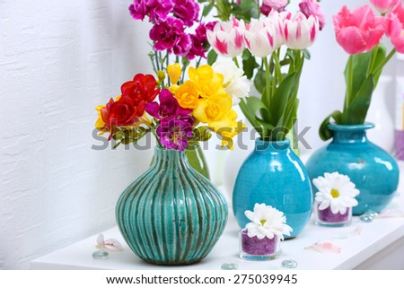 Beautiful Composition Different Flowers Vases On Stock Photo Edit