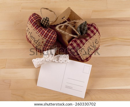 Beautiful composition with invitation cards, love and friendship. Work executed in vintage style. - stock photo