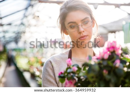 Beautiful concentrated young woman florist in glasses working with flowers in greenhouse - stock photo