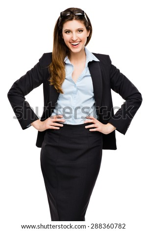 Beautiful Confident Business Woman isolated on White - stock photo