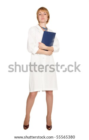 Beautiful confident doctor in white uniform. Isolated on a white background. - stock photo