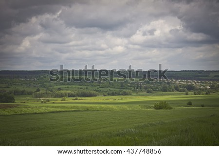 Beautiful contrast and bright landscape with wheat field