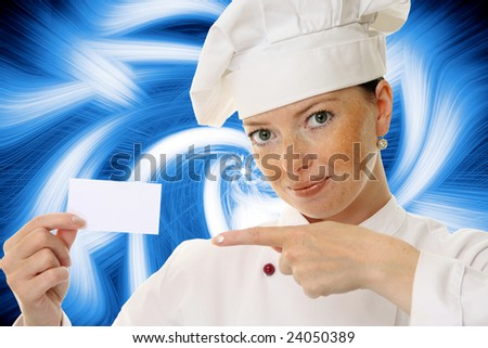 Beautiful cook woman holding blank card over a abstract background