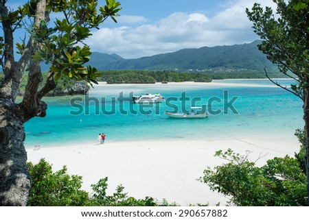 Beautiful coral beach lagoon of Ishigaki island in Okinawa, Japan - stock photo