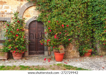 Beautiful corners and streets of the medieval small town in Lazio, Civita di Bagnoregio, Italy - stock photo