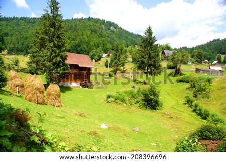 Beautiful country landscape in the Carpathians Mountains in Romania