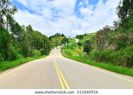 beautiful country roads in mountain - stock photo