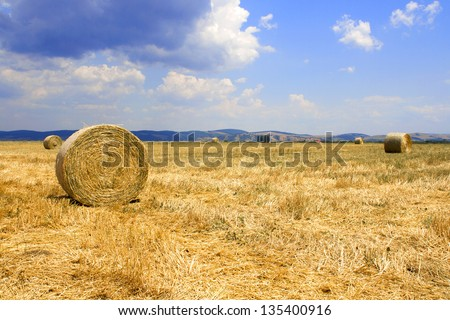 Beautiful countryside scenery; Round straw bales in harvested fields and blue sky with clouds - stock photo