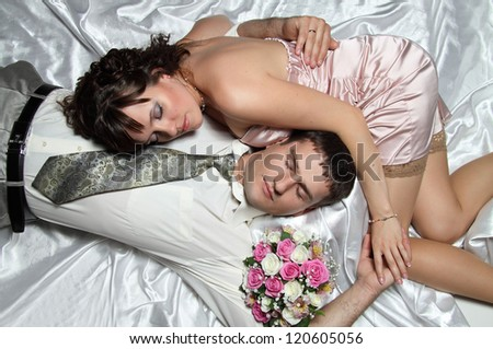 beautiful couple at the wedding - stock photo