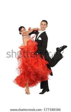 beautiful couple in the active ballroom dance - stock photo