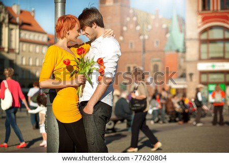 Beautiful couple on date - stock photo