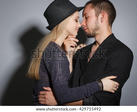 beautiful couple together. Hipster boy and girl. - stock photo