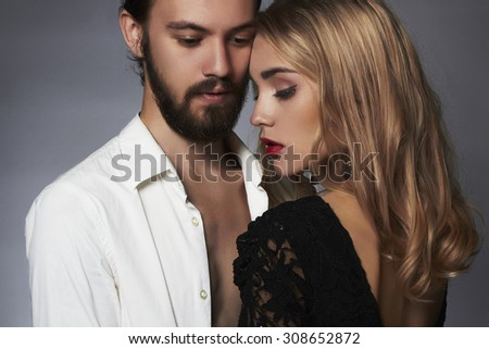 beautiful couple. woman with man.beauty girl and boy together.love,valentine - stock photo