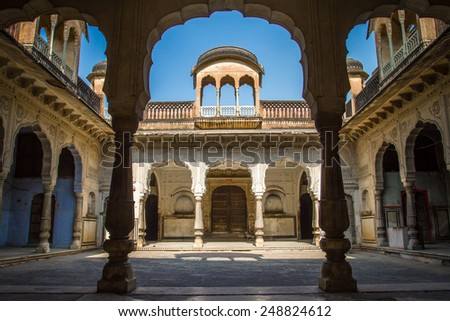 Beautiful courtyard in the Amber Fort palace near Jaipur, Rajasthan, India - stock photo