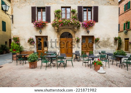 Beautiful courtyard in Tuscany, Italy in summer - stock photo