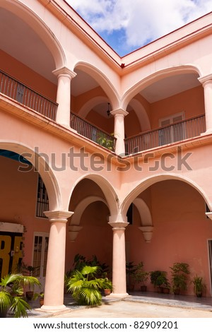 Beautiful courtyard on a colonial palace in Old Havana - stock photo
