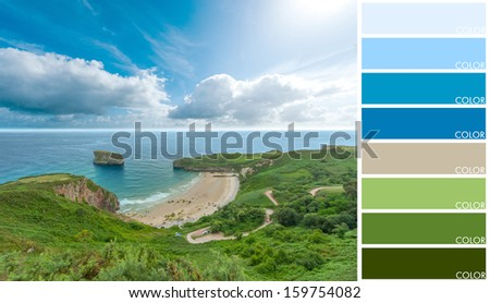 Beautiful cove, with a color palette - stock photo