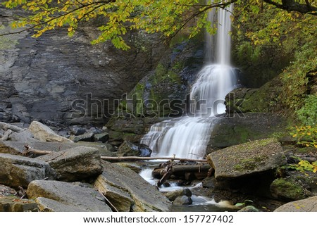 Beautiful Cow Shed Falls at Fillmore Glen State Park, Moravia, New York - stock photo