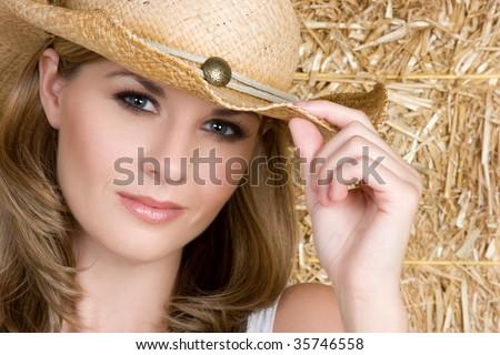 Beautiful Cowgirl - stock photo
