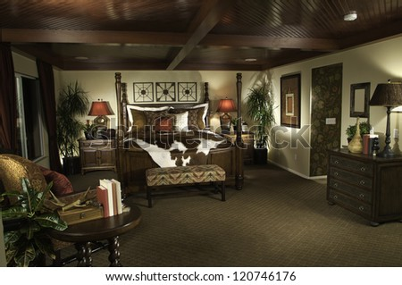 Beautiful Craftsman Bedroom Contemporary Bedroom Architecture Stock Images, Photos of Living room, Dining Room, Bathroom, Kitchen, Bed room, Office, Interior photography. - stock photo