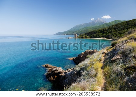 Beautiful crystal clear waters of Chalkidiki sea on Holy Mount Athos - stock photo