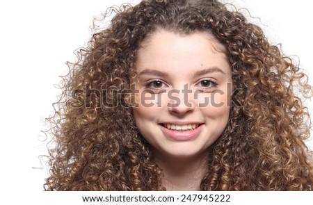 Beautiful curly woman - stock photo