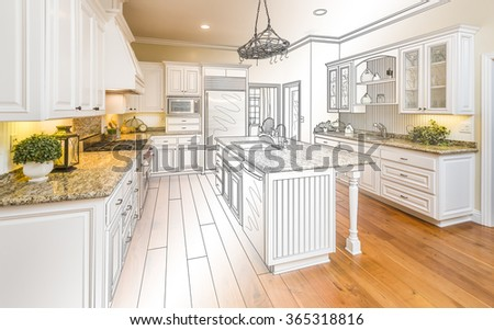 Beautiful Custom Kitchen Design Drawing and Gradated Photo Combination. - stock photo