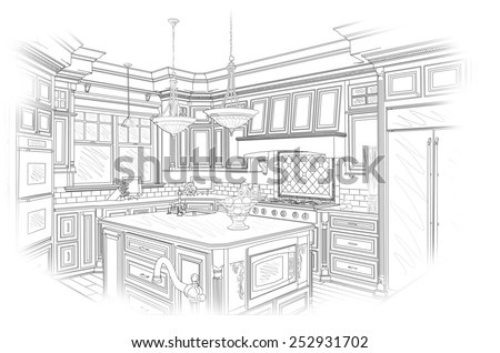 Beautiful Custom Kitchen Design Drawing in Black Isolated on White. - stock photo
