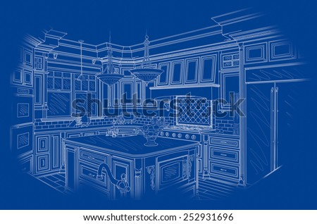 Beautiful Custom Kitchen Design Drawing in White On Blue Background. - stock photo