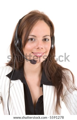 Beautiful customer support girl with headset smiling during a telephone conversation - over a white background