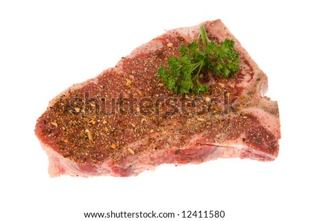 Beautiful cut of beef deliciously seasoned and ready to be grilled - stock photo