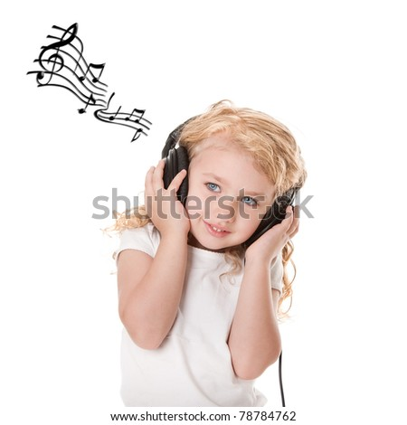 Beautiful cute happy blond girl with headphones grooving having fun listening to music, isolated. - stock photo