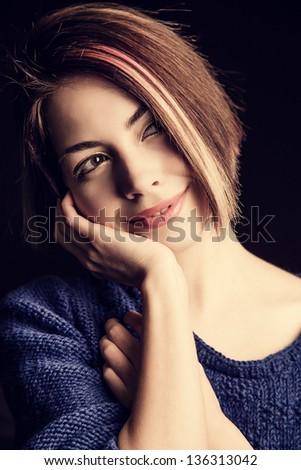 Beautiful, cute woman - stock photo