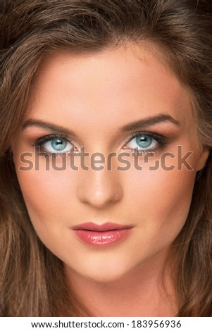 Beautiful, cute woman with gorgeous face - stock photo