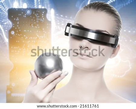 Beautiful cyber woman isolated over abstract background - stock photo