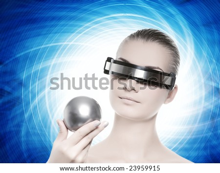 Beautiful cyber woman isolated over abstract blue background - stock photo