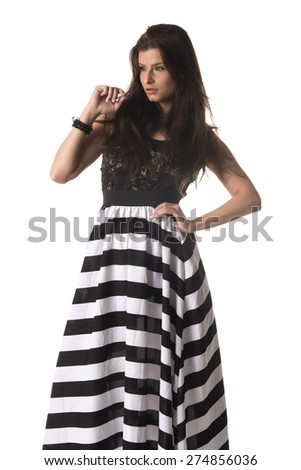 Beautiful Czech woman dressed in black and white - stock photo