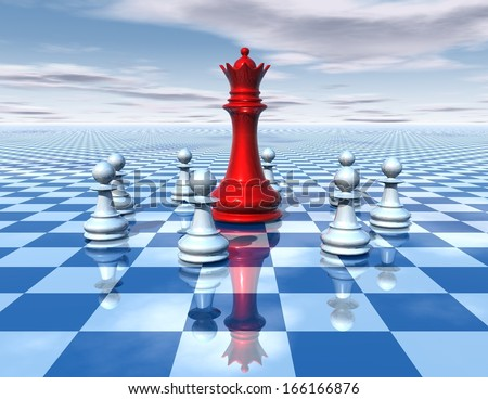 beautiful 3d abstraction with blue chessboard and big red chess queen surrounded by white chess pawns, with cloudy sky, universal surreal dimensional concept illustration - stock photo