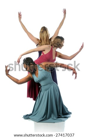 Beautiful dancers performing together over a white background - stock photo