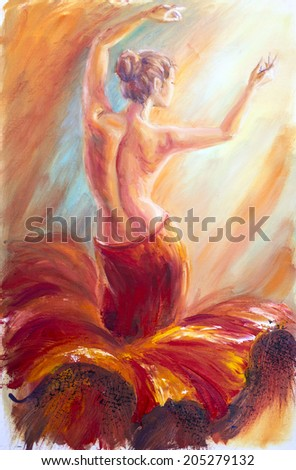Beautiful dancing woman in red. Oil painting. - stock photo