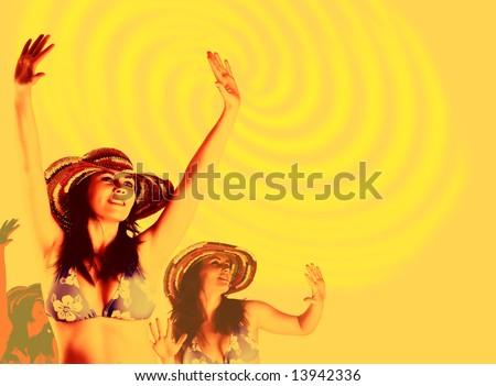 beautiful dancing women. Party background - stock photo