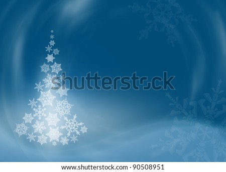 Beautiful dark blue Christmas (New Year) background. Christmas tree from snowflakes. Snowflakes drawn from natural water crystals. - stock photo