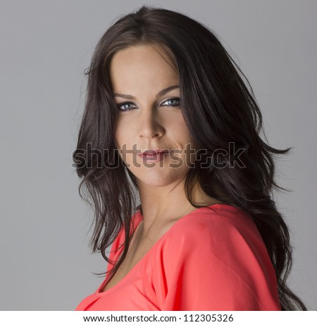 Beautiful Dark haired Mature Female Model - stock photo
