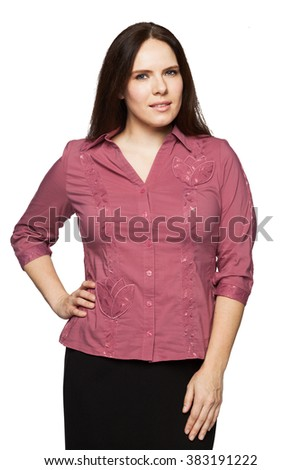 Beautiful dark-haired woman in a blouse - stock photo