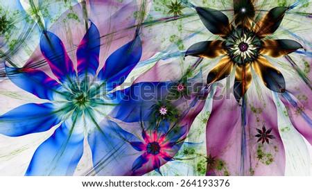 beautiful dark vivid colored modern high stock illustration, Natural flower