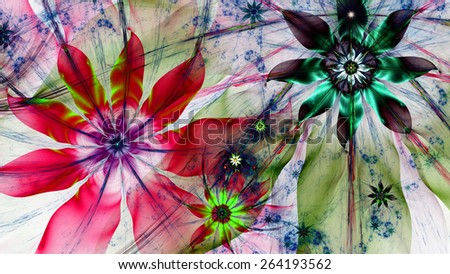 Beautiful dark vivid colored modern high resolution flower background with a detailed flower pattern with plastic natural looking 3D leaves, all in high resolution and in red,pink,blue,green - stock photo