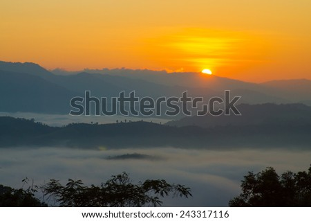 Beautiful dawn in the mountains , Tak, Thailand