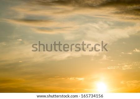 beautiful dawn sun in the sky - stock photo