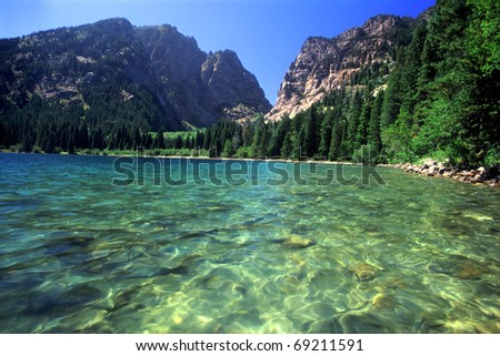 Beautiful day at Phelps Lake in Grand Teton National Park - Wyoming - stock photo