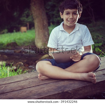 Beautiful day for kids vacation in nature - stock photo